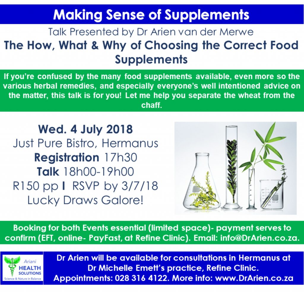 4 July Talk - Making sense of Supplements
